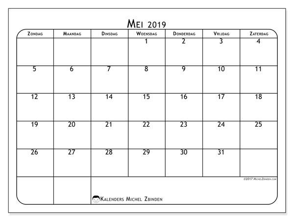 Kalender mei 2019, 51ZZ. Gratis printbare kalender.