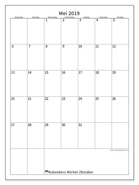Kalender  mei 2019, 52MZ