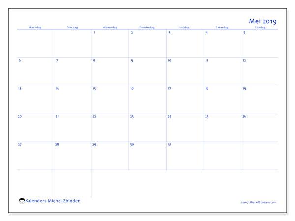 Kalender mei 2019, 55MZ. Schema om gratis te printen.
