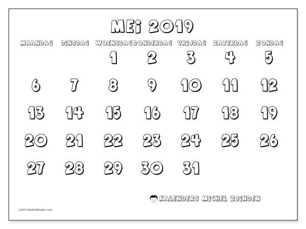 Kalender mei 2019, 56MZ. Agenda om gratis te printen.