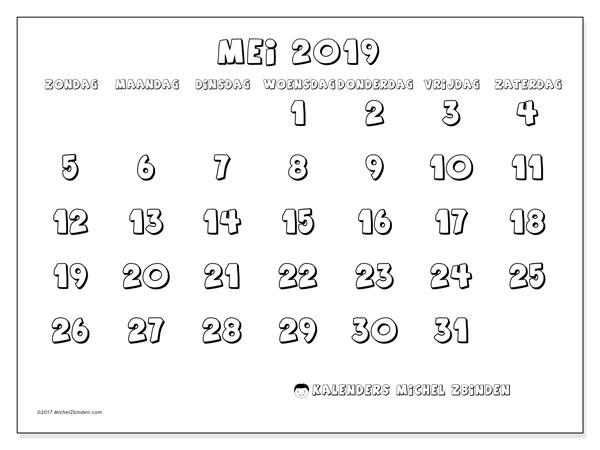 Kalender mei 2019, 56ZZ. Gratis kalender om af te drukken.