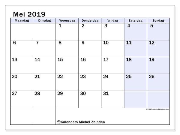 Kalender mei 2019, 57MZ. Kalender om gratis af te drukken.