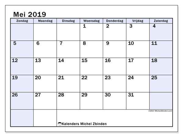 Kalender mei 2019, 57ZZ. Gratis afdrukbare kalender.