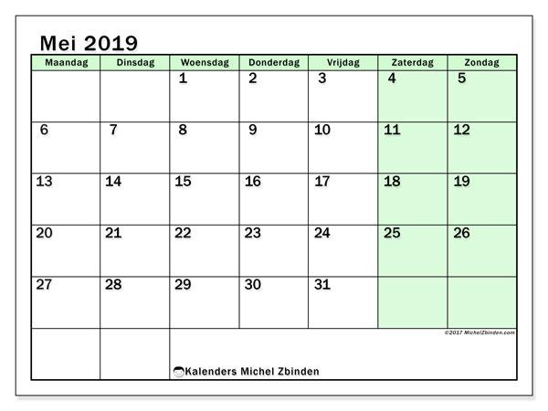 Kalender mei 2019, 60MZ. Agenda om gratis te printen.