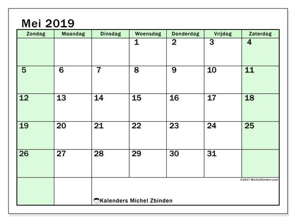 Kalender mei 2019, 60ZZ. Gratis kalender om af te drukken.