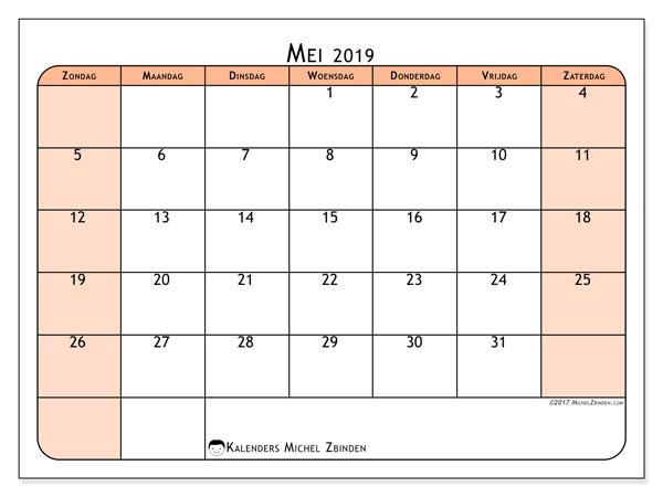 Kalender mei 2019, 61ZZ. Gratis printbare kalender.