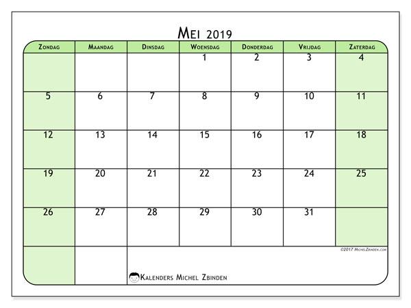 Kalender mei 2019, 65ZZ. Schema om gratis te printen.