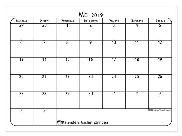 Kalender  mei 2019, 67MZ