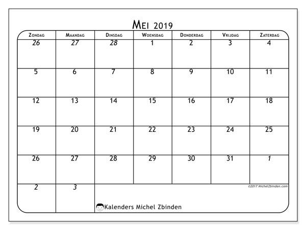 Kalender mei 2019, 67ZZ. Maandkalender om gratis te printen.