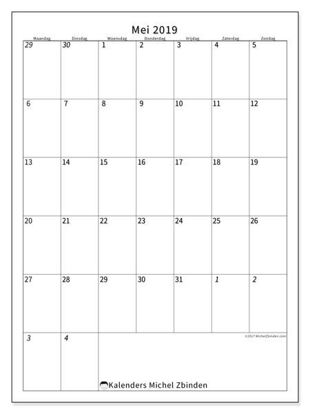 Kalender  mei 2019, 68MZ