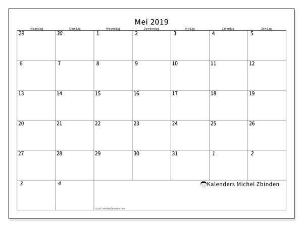 Kalender  mei 2019, 70MZ