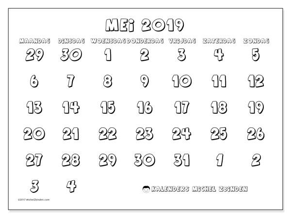 Kalender mei 2019, 71MZ. Agenda om gratis te printen.