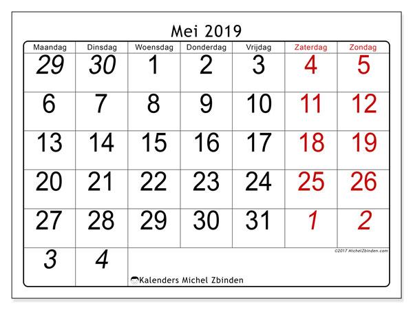 Kalender mei 2019, 72MZ. Maandkalender om gratis te printen.