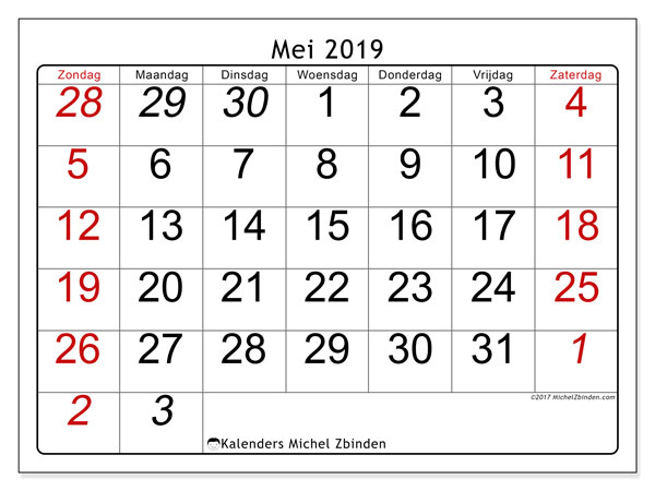 Kalender mei 2019, 72ZZ. Gratis afdrukbare kalender.
