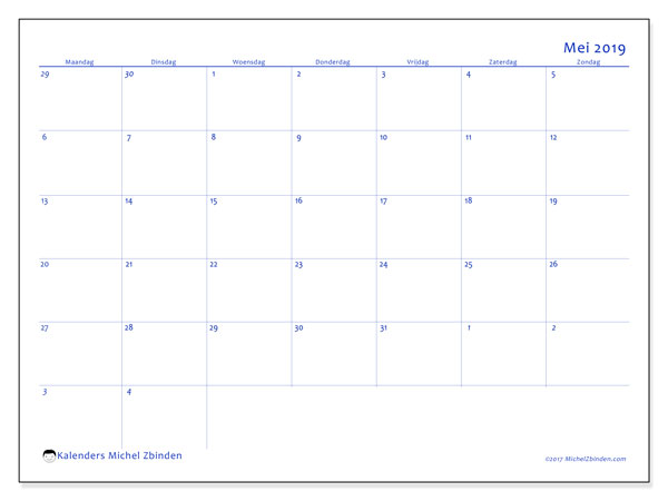 Kalender mei 2019, 73MZ. Maandkalender om gratis te printen.