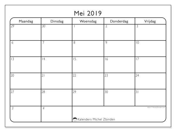 Kalender mei 2019, 74MV. Gratis afdrukbare kalender.