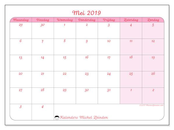 Kalender mei 2019, 76MZ. Agenda om gratis te printen.