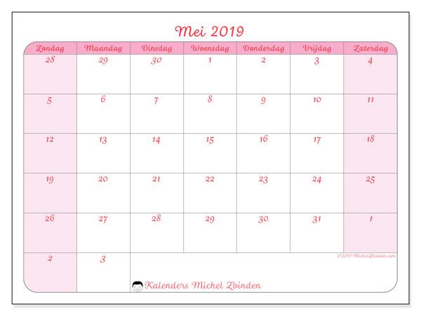 Kalender mei 2019, 76ZZ. Gratis kalender om af te drukken.
