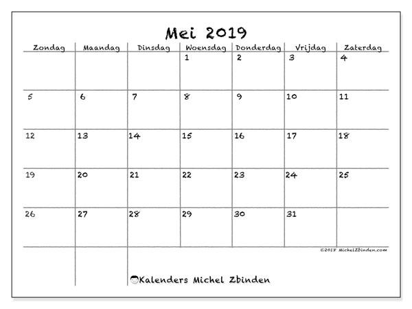 Kalender mei 2019, 77ZZ. Kalender voor de maand die gratis moet worden afgedrukt.