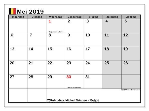 Kalender mei 2019 met de feestdagen van België. Gratis afdrukbare kalender.