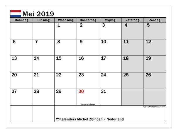 Kalender mei 2019 met de feestdagen van Nederland. Gratis afdrukbare kalender.