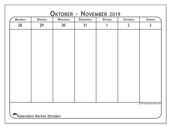 Kalender november 2019, 43-1MZ. Gratis printbare kalender.