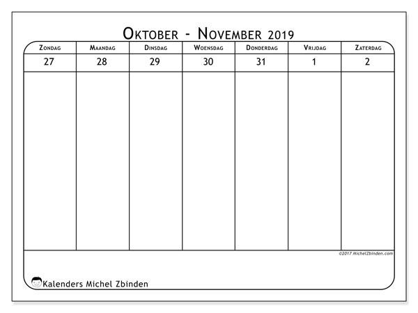 Kalender november 2019, 43-1ZZ. Gratis printbare kalender.