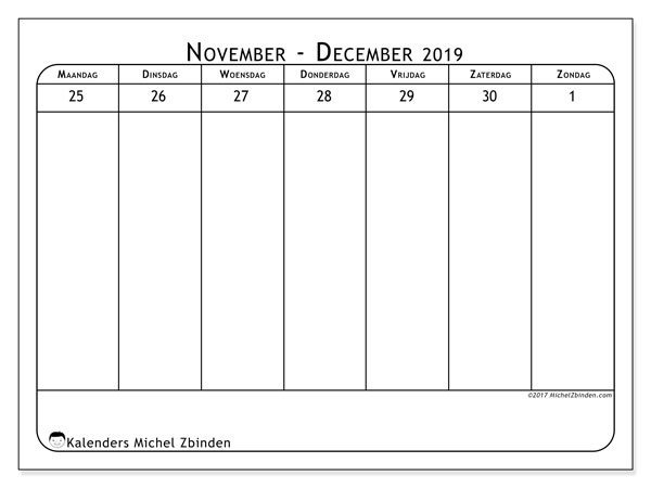 Kalender november 2019, 43-5MZ. Gratis afdrukbare kalender.