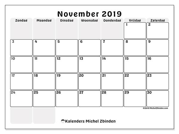 Kalender november 2019, 44ZZ. Agenda om gratis te printen.