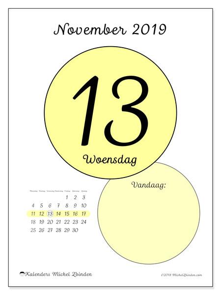 Kalender november 2019, 45-13MZ. Kalender voor de dag om gratis te printen.