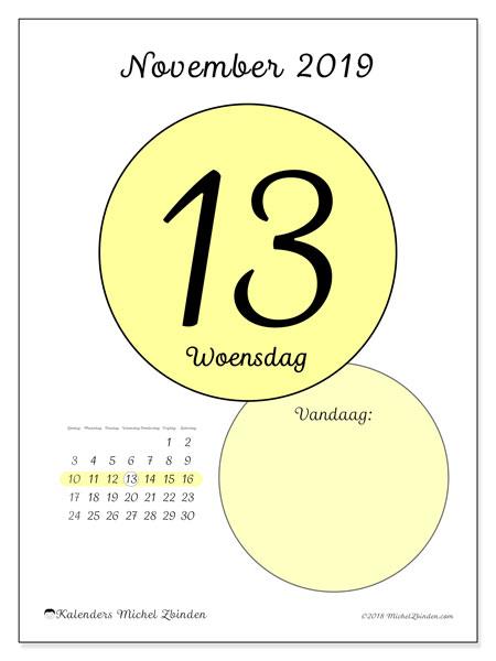 Kalender november 2019, 45-13ZZ. Dagelijkse kalender om gratis te printen.