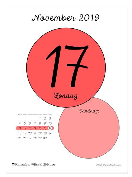 Kalender november 2019, 45-17MZ. Dagelijkse kalender om gratis te printen.