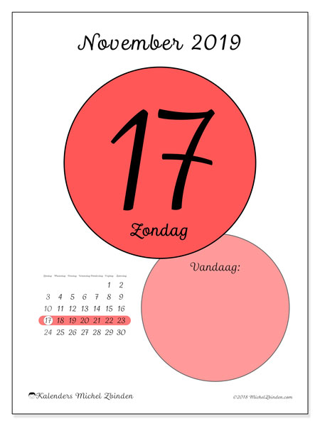 Kalender november 2019, 45-17ZZ. Dagelijkse kalender om gratis te printen.