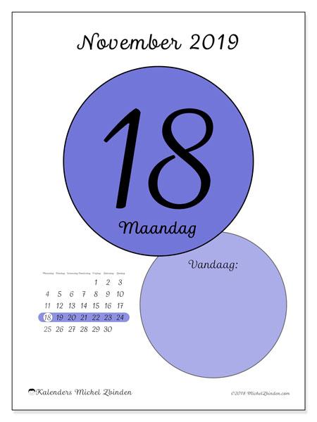 Kalender november 2019, 45-18MZ. Kalender voor de dag om gratis te printen.
