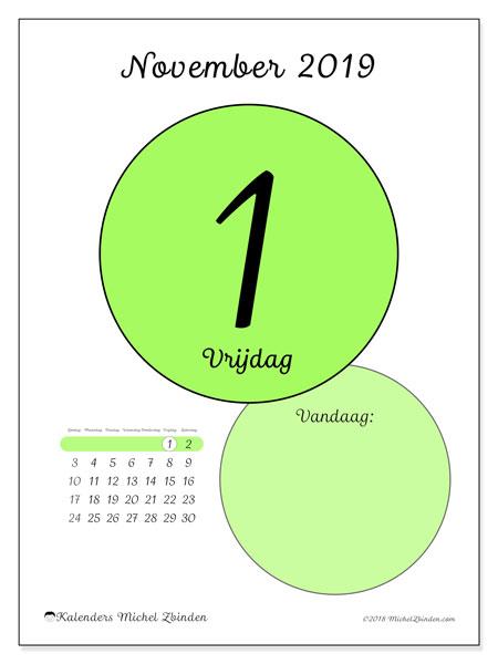 Kalender november 2019, 45-1ZZ. Kalender voor de dag om gratis te printen.