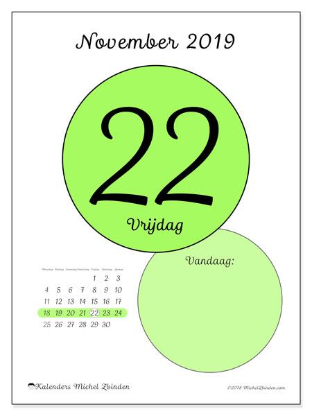 Kalender november 2019, 45-22MZ. Dagelijkse kalender om gratis te printen.