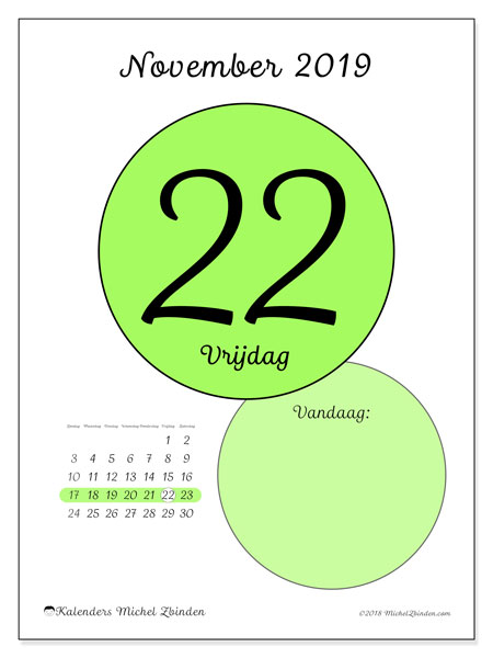 Kalender november 2019, 45-22ZZ. Dagelijkse kalender om gratis te printen.
