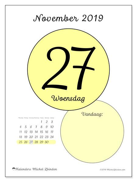 Kalender november 2019, 45-27MZ. Kalender voor de dag om gratis te printen.