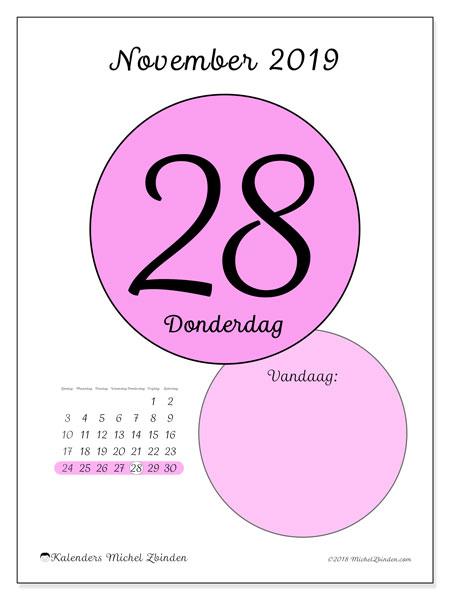 Kalender november 2019, 45-28ZZ. Dagelijkse kalender om gratis te printen.