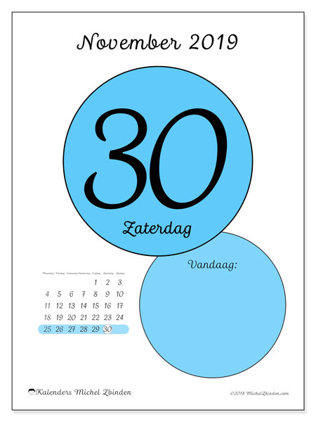 Kalender november 2019, 45-30MZ. Dagelijkse kalender om gratis te printen.