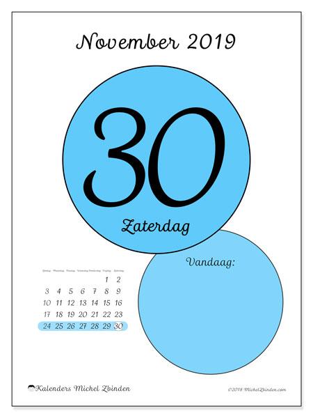 Kalender november 2019, 45-30ZZ. Dagelijkse kalender om gratis te printen.