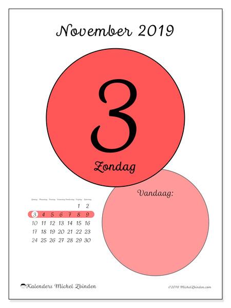Kalender november 2019, 45-3ZZ. Kalender voor de dag om gratis te printen.