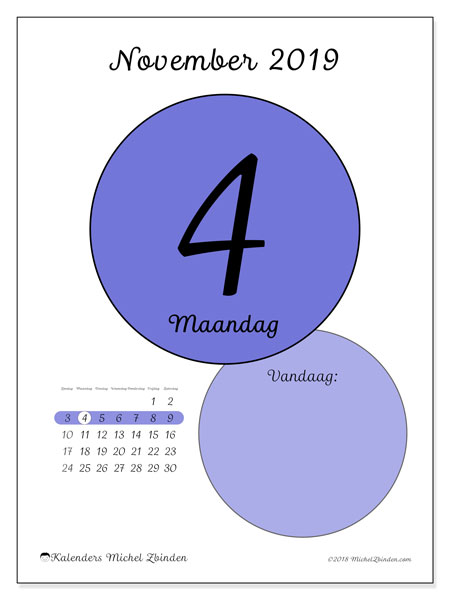 Kalender november 2019, 45-4ZZ. Dagelijkse kalender om gratis te printen.