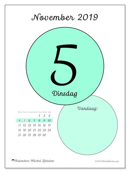 Kalender november 2019, 45-5MZ. Dagelijkse kalender om gratis te printen.