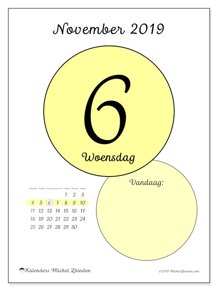 Kalender november 2019, 45-6MZ. Dagelijkse kalender om gratis te printen.