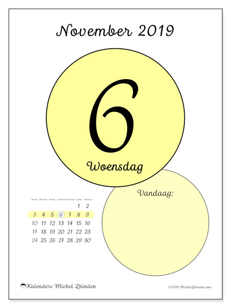 Kalender november 2019, 45-6ZZ. Dagelijkse kalender om gratis te printen.