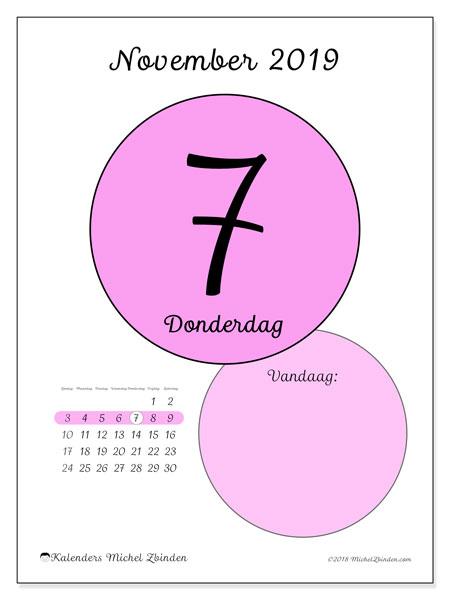 Kalender november 2019, 45-7ZZ. Dagelijkse kalender om gratis te printen.