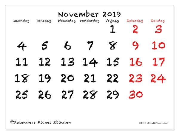 Kalender november 2019, 46MZ. Kalender om gratis af te drukken.