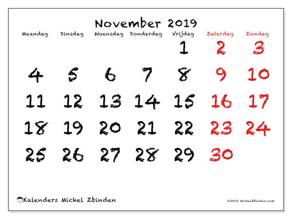 Kalender november 2019, 46MZ. Agenda om gratis te printen.