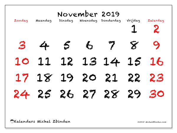 Kalender november 2019, 46ZZ. Agenda om gratis te printen.